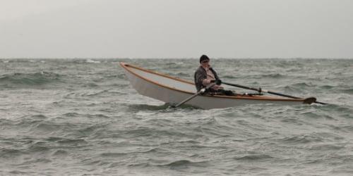 Rowboat rough seas