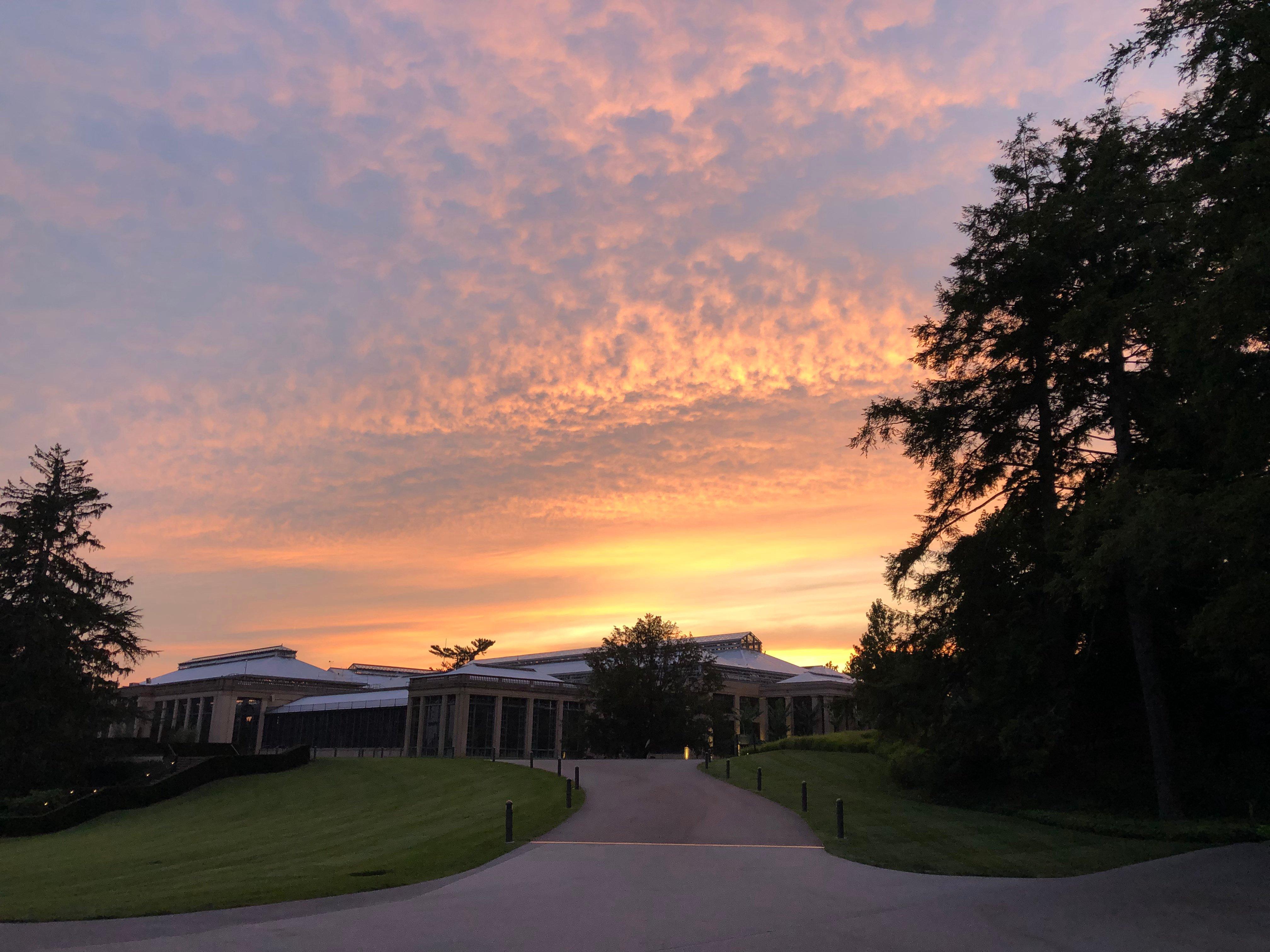 Longwood conservatory sunset